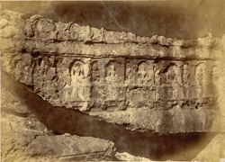 Portion of frieze of Great Cave, Jain rock-cut temples, Dharasinva